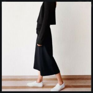 UNIQLO AND LEMAIRE Wide Leg Ankle Crop Pants Black